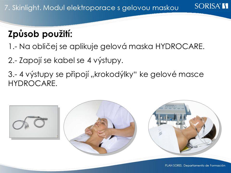 Způsob použití: 1.- Na obličej se aplikuje gelová maska HYDROCARE.