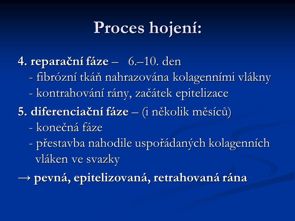 Proces hojení: 4. reparační fáze – 6.–10. den - fibrózní tkáň nahrazována kolagenními vlákny - kontrahování rány, začátek epitelizace.