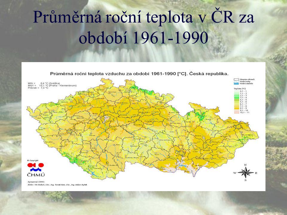 Průměrná roční teplota v ČR za období 1961-1990