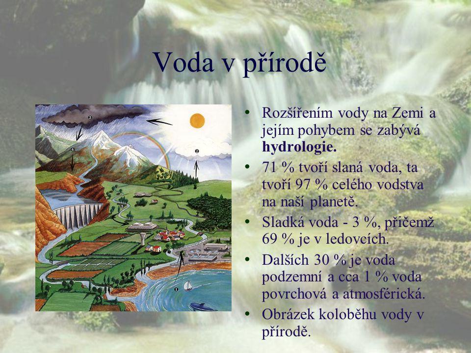 Voda v přírodě Rozšířením vody na Zemi a jejím pohybem se zabývá hydrologie. 71 % tvoří slaná voda, ta tvoří 97 % celého vodstva na naší planetě.