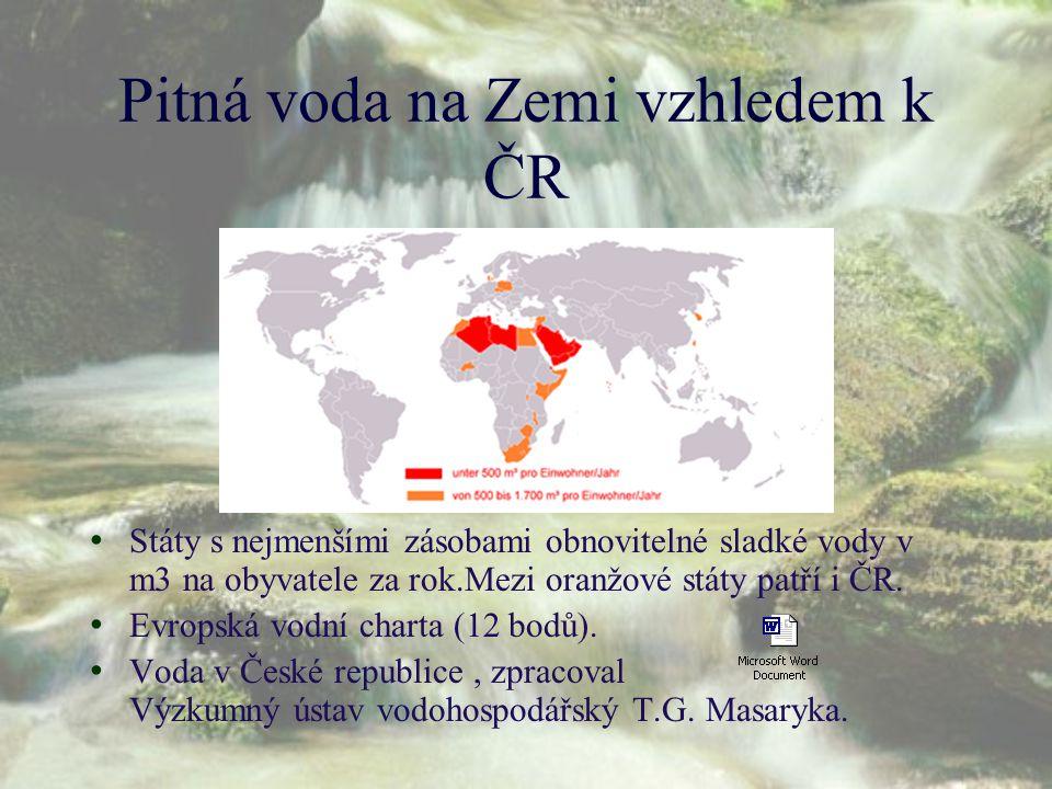 Pitná voda na Zemi vzhledem k ČR