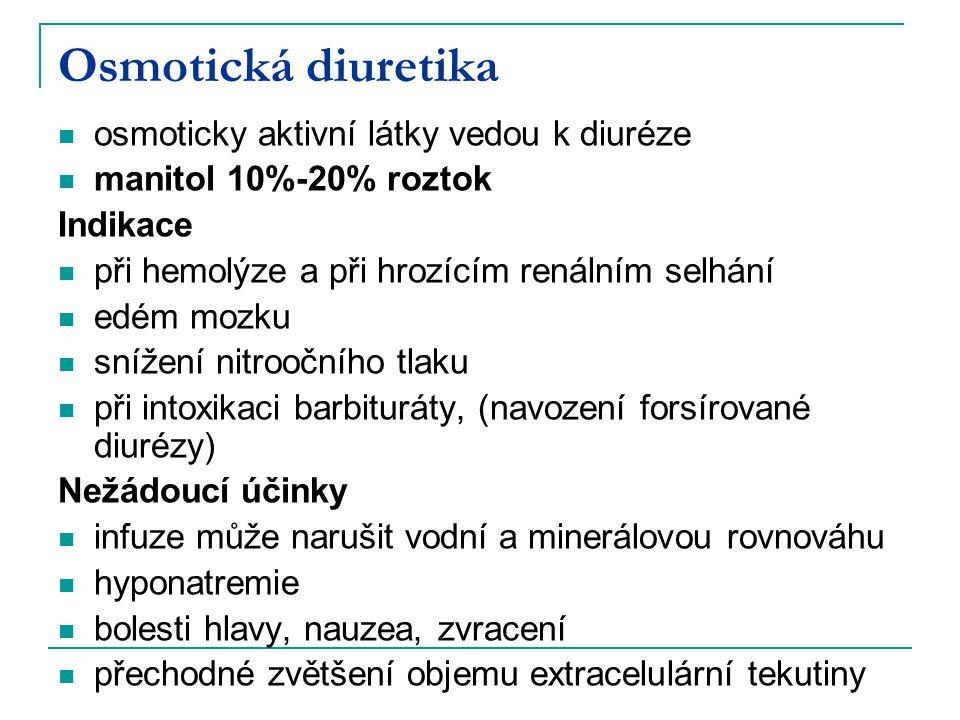 Osmotická diuretika osmoticky aktivní látky vedou k diuréze