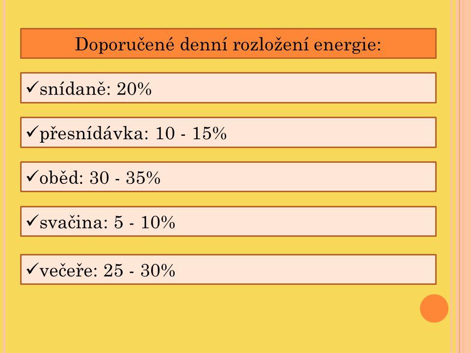 Doporučené denní rozložení energie: