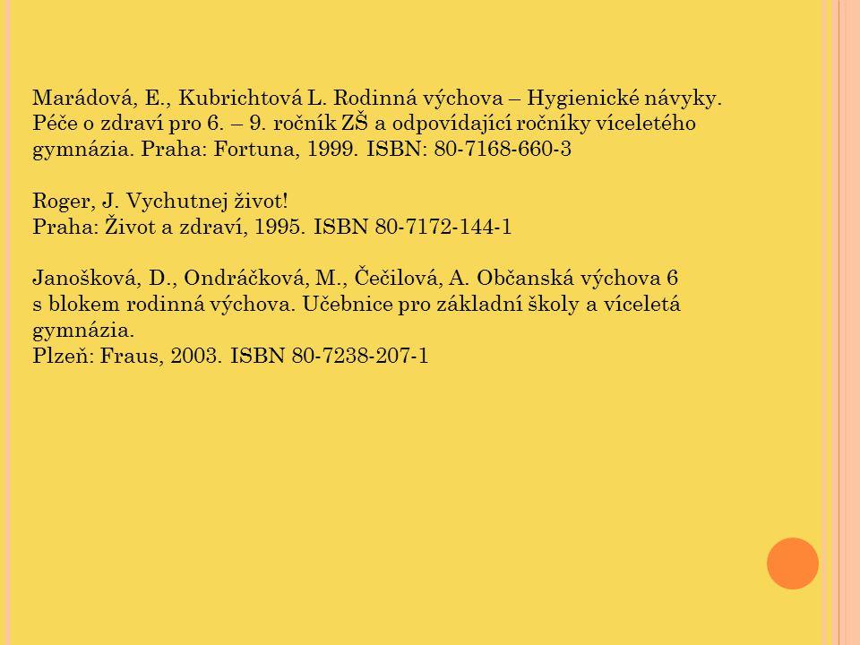 Marádová, E. , Kubrichtová L. Rodinná výchova – Hygienické návyky