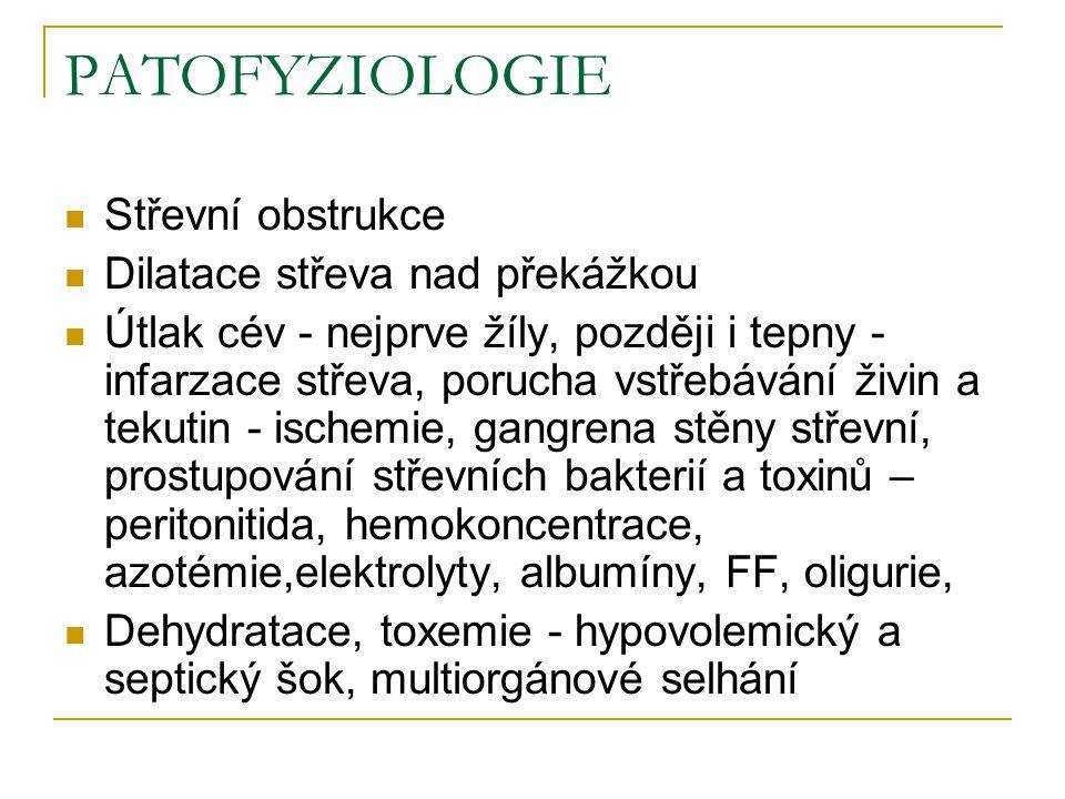 PATOFYZIOLOGIE Střevní obstrukce Dilatace střeva nad překážkou