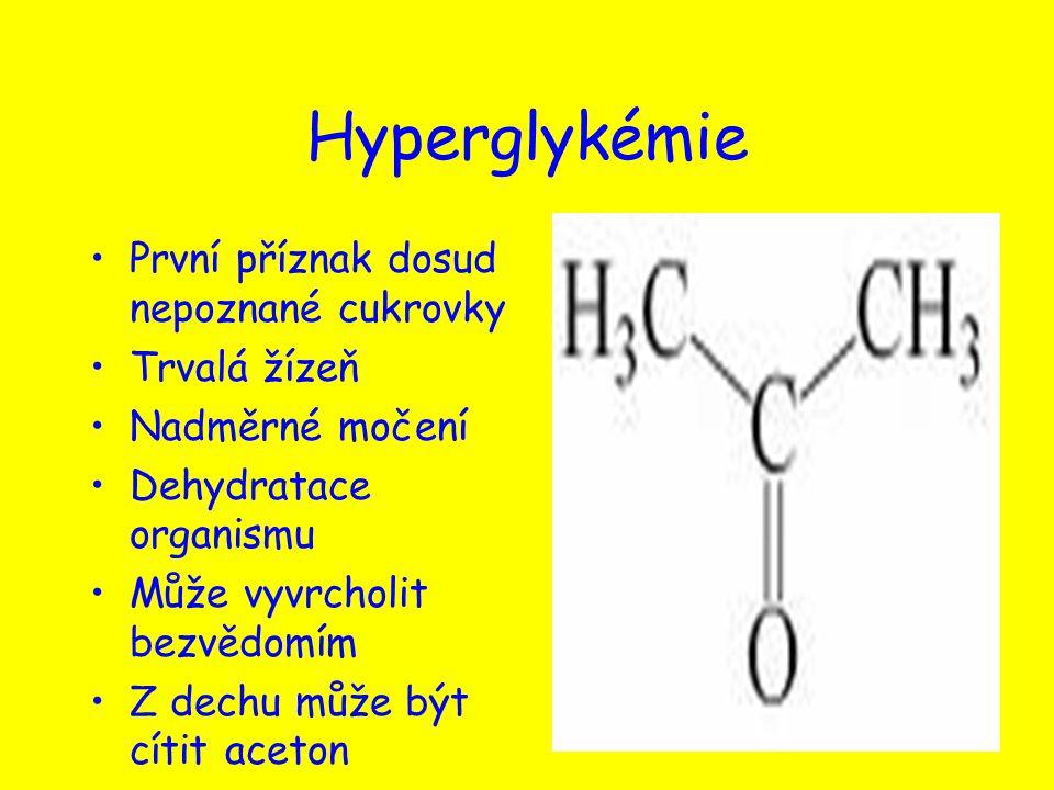 Hyperglykémie První příznak dosud nepoznané cukrovky Trvalá žízeň