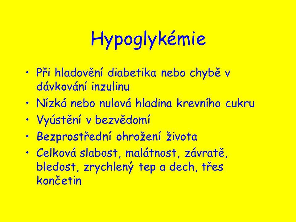 Hypoglykémie Při hladovění diabetika nebo chybě v dávkování inzulinu