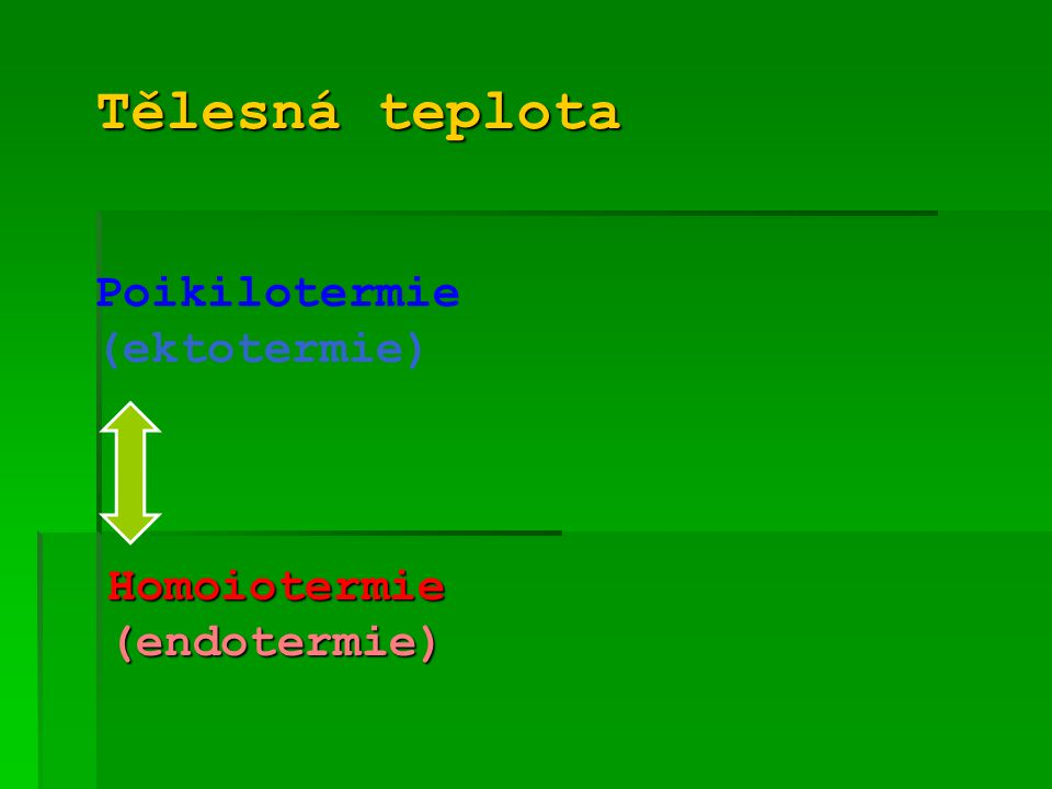 Tělesná teplota Poikilotermie (ektotermie) Homoiotermie (endotermie)