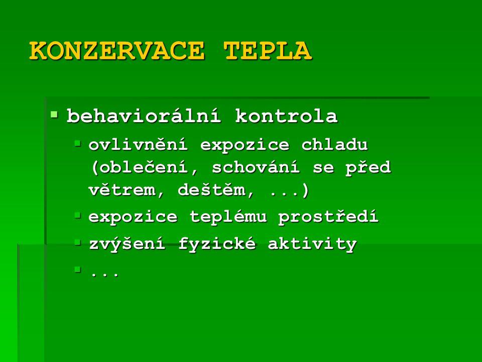 KONZERVACE TEPLA behaviorální kontrola