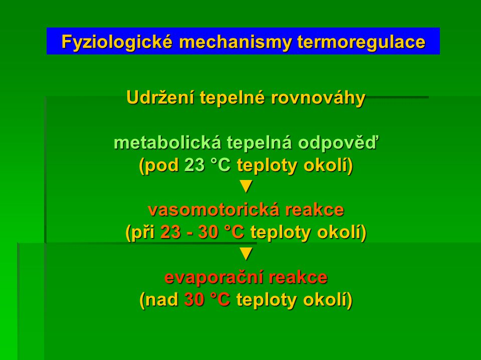 Fyziologické mechanismy termoregulace