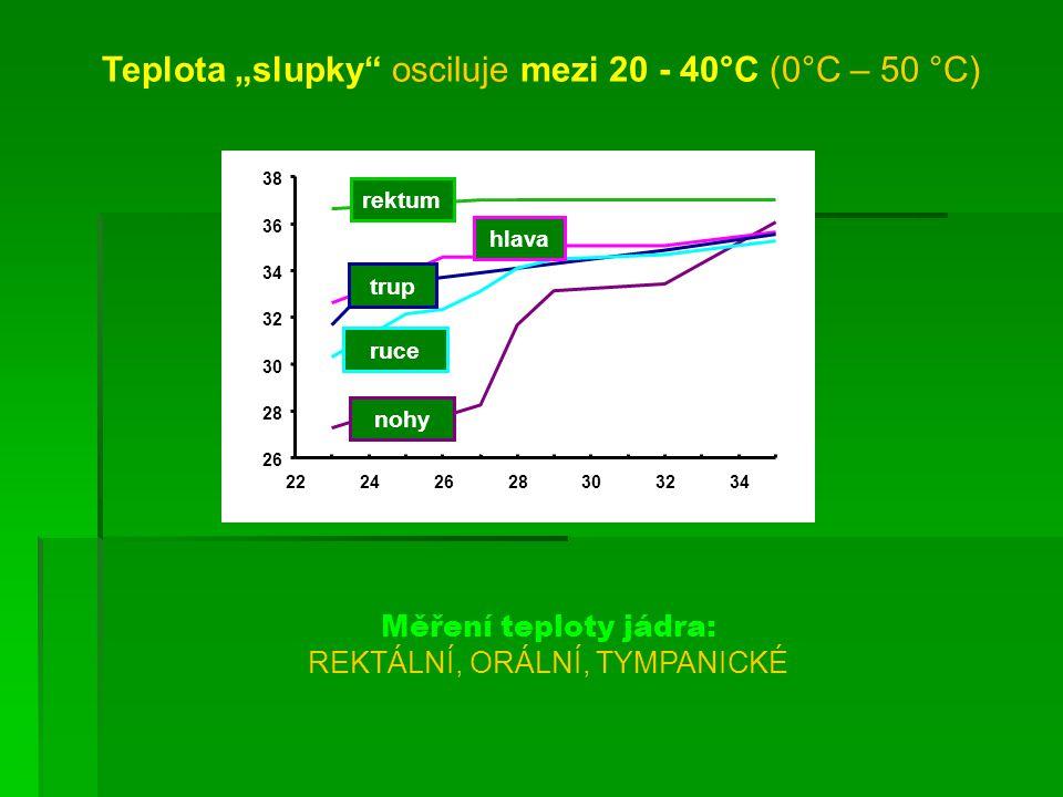 """Teplota """"slupky osciluje mezi 20 - 40°C (0°C – 50 °C)"""