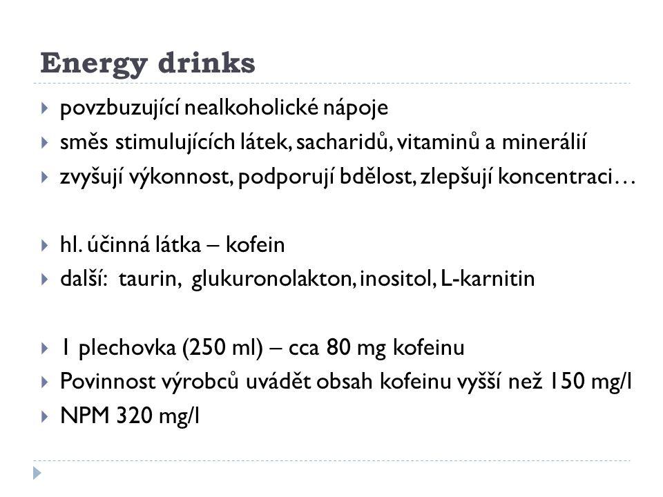 Energy drinks povzbuzující nealkoholické nápoje
