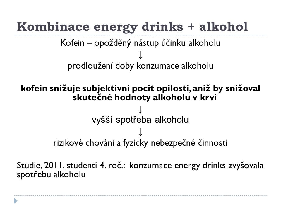 Kombinace energy drinks + alkohol