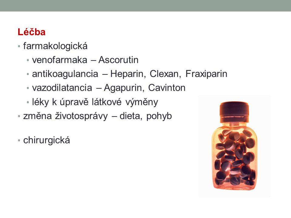 Léčba farmakologická. venofarmaka – Ascorutin. antikoagulancia – Heparin, Clexan, Fraxiparin. vazodilatancia – Agapurin, Cavinton.