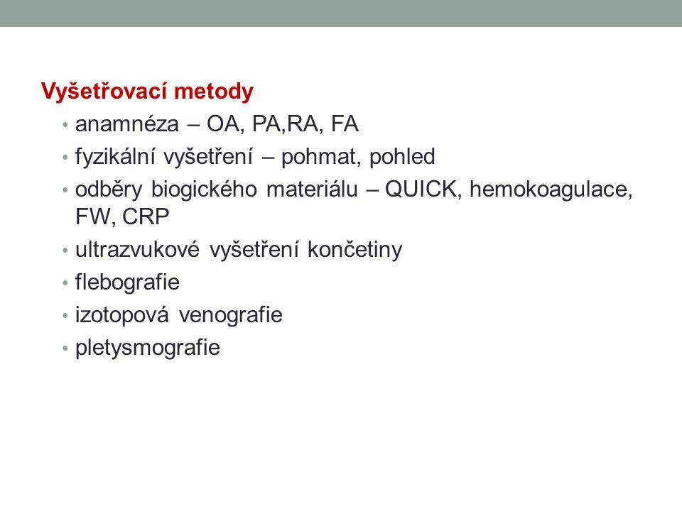 Vyšetřovací metody anamnéza – OA, PA,RA, FA. fyzikální vyšetření – pohmat, pohled. odběry biogického materiálu – QUICK, hemokoagulace, FW, CRP.