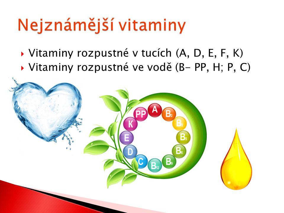 Nejznámější vitaminy Vitaminy rozpustné v tucích (A, D, E, F, K)