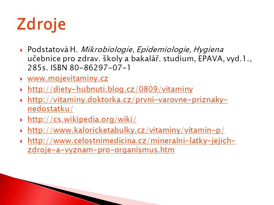 Zdroje Podstatová H. Mikrobiologie, Epidemiologie, Hygiena učebnice pro zdrav. školy a bakalář. studium, EPAVA, vyd.1., 285s. ISBN 80-86297-07-1.