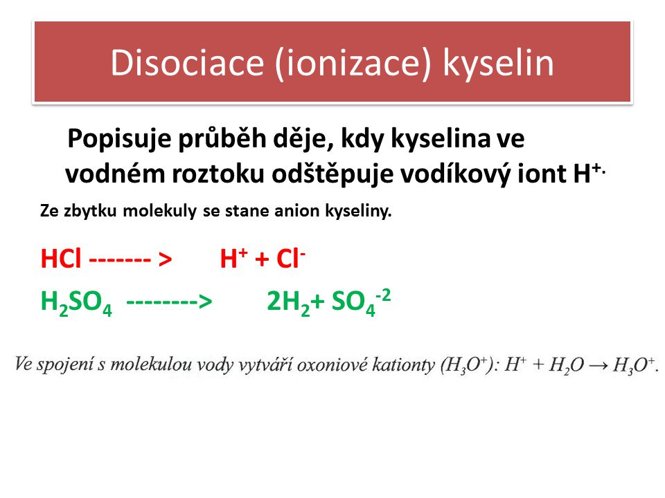 Disociace (ionizace) kyselin