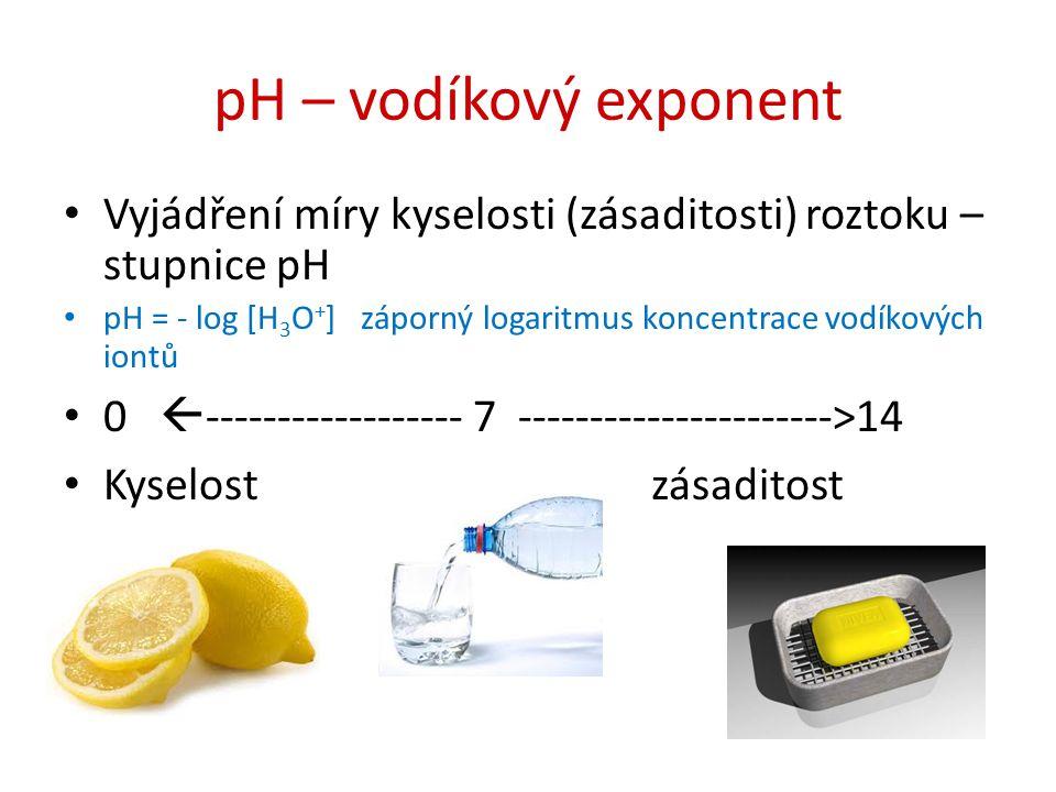 pH – vodíkový exponent Vyjádření míry kyselosti (zásaditosti) roztoku –stupnice pH.