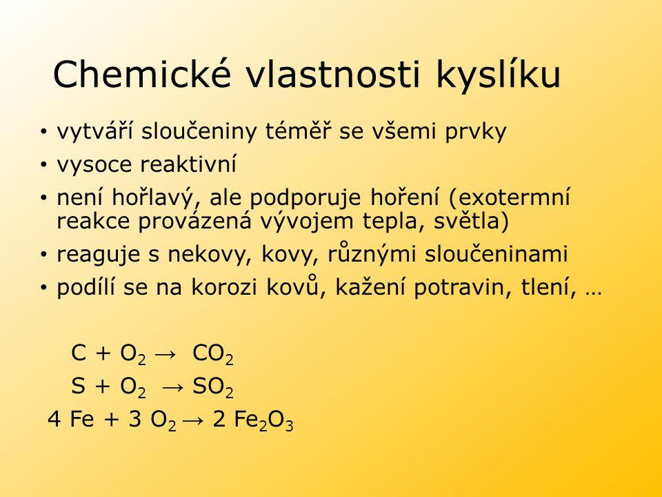 Chemické vlastnosti kyslíku