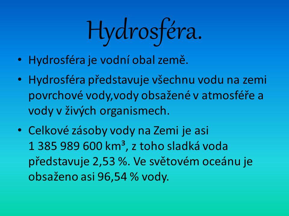 Hydrosféra. Hydrosféra je vodní obal země.
