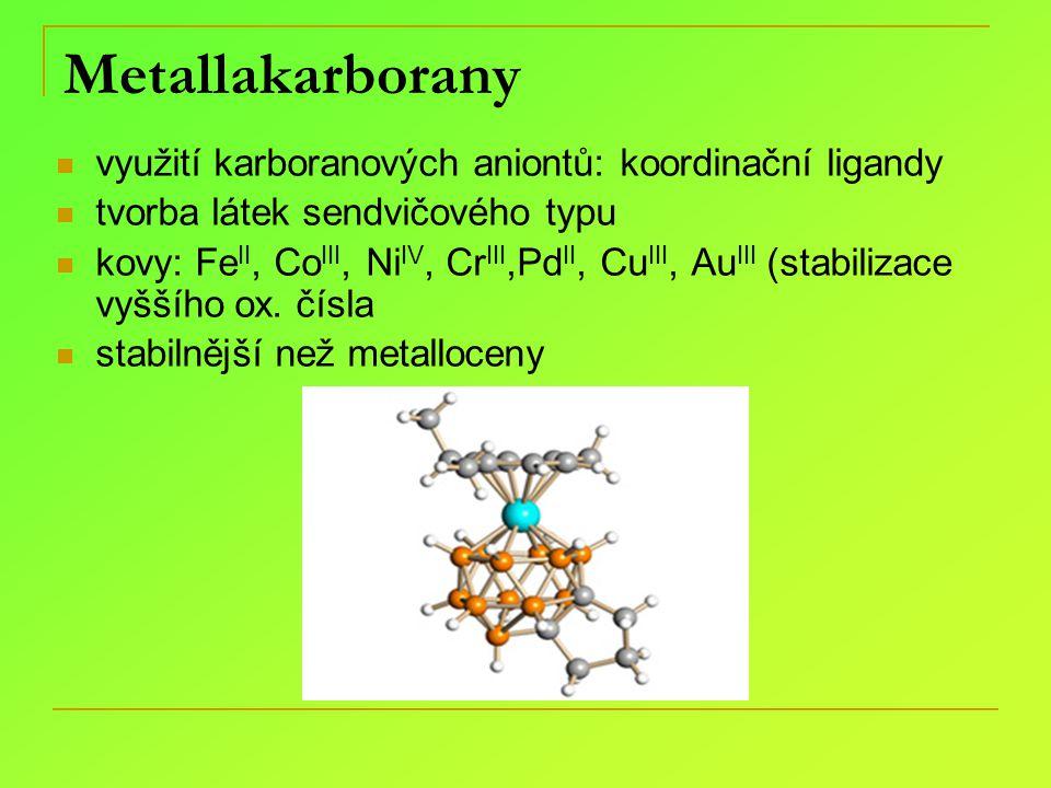 Metallakarborany využití karboranových aniontů: koordinační ligandy