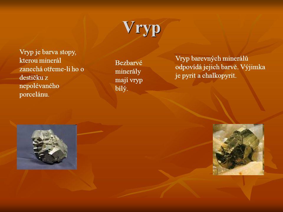 Vryp Vryp je barva stopy, kterou minerál zanechá otřeme-li ho o destičku z nepolévaného porcelánu.