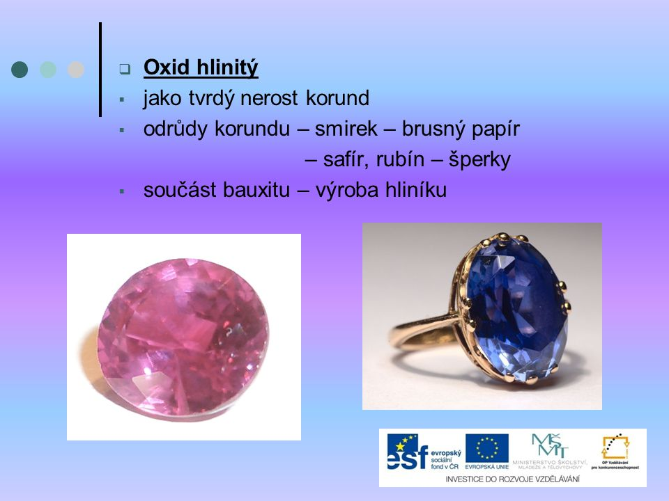 Oxid hlinitý jako tvrdý nerost korund. odrůdy korundu – smirek – brusný papír. – safír, rubín – šperky.