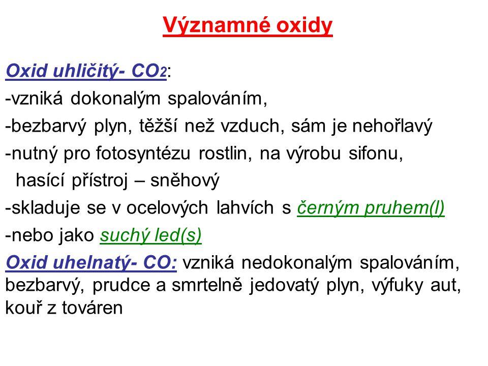 Významné oxidy Oxid uhličitý- CO2: -vzniká dokonalým spalováním,