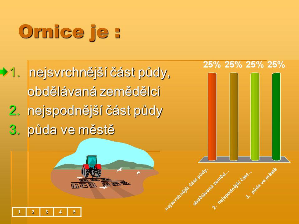 Ornice je : nejsvrchnější část půdy, obdělávaná zemědělci