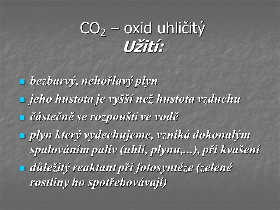 CO2 – oxid uhličitý Užití: