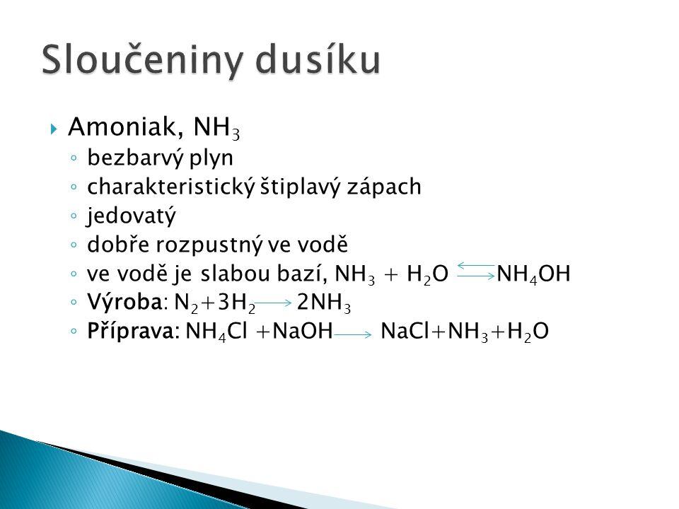 Sloučeniny dusíku Amoniak, NH3 bezbarvý plyn