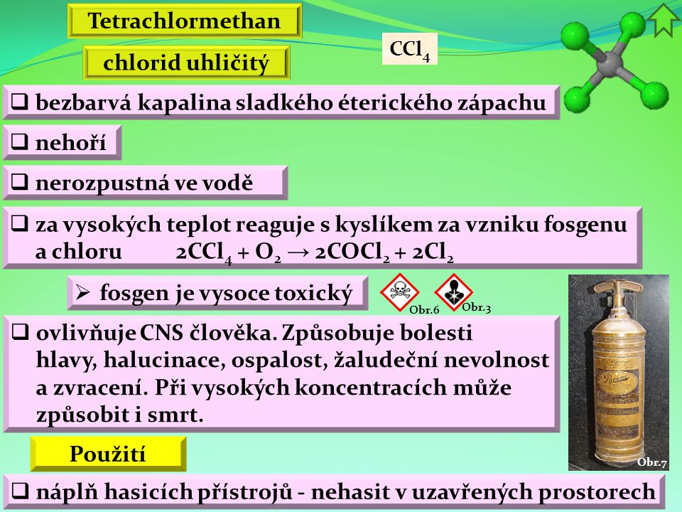 Tetrachlormethan chlorid uhličitý Použití