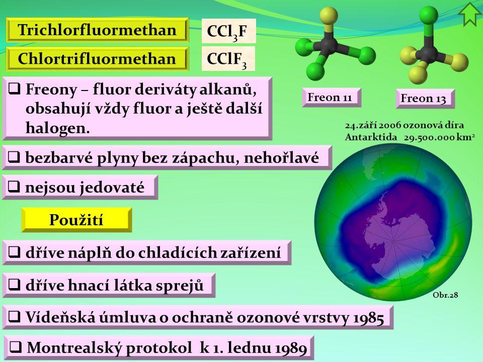 Trichlorfluormethan Chlortrifluormethan Použití