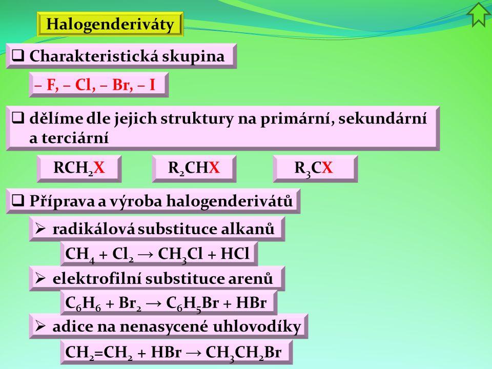 Halogenderiváty Charakteristická skupina. – F, – Cl, – Br, – I. dělíme dle jejich struktury na primární, sekundární a terciární.