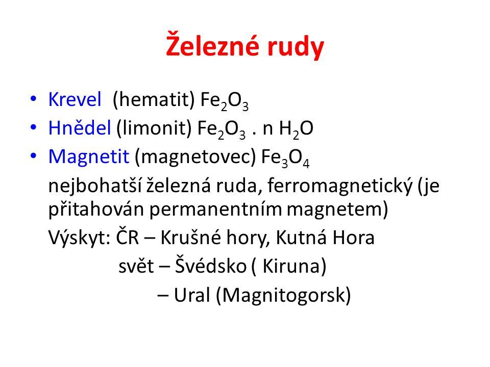 Železné rudy Krevel (hematit) Fe2O3 Hnědel (limonit) Fe2O3 . n H2O