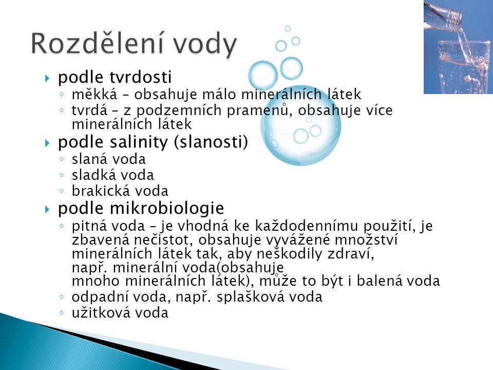 Rozdělení vody podle tvrdosti podle salinity (slanosti)
