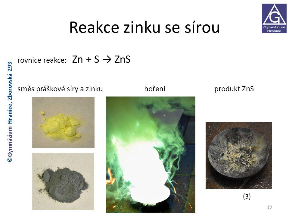 Reakce zinku se sírou rovnice reakce: Zn + S → ZnS směs práškové síry a zinku hoření produkt ZnS ©Gymnázium Hranice, Zborovská 293.