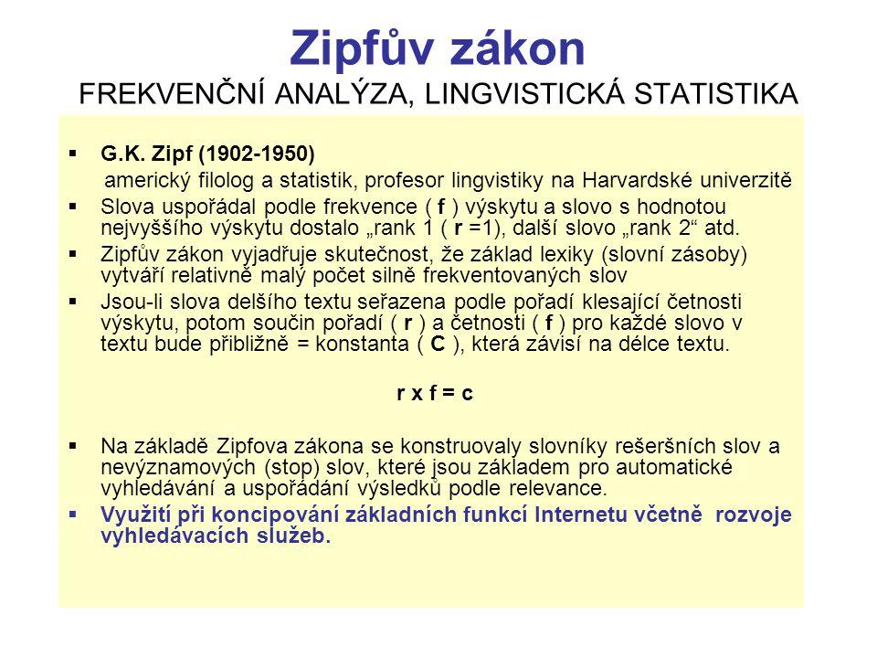 Zipfův zákon FREKVENČNÍ ANALÝZA, LINGVISTICKÁ STATISTIKA