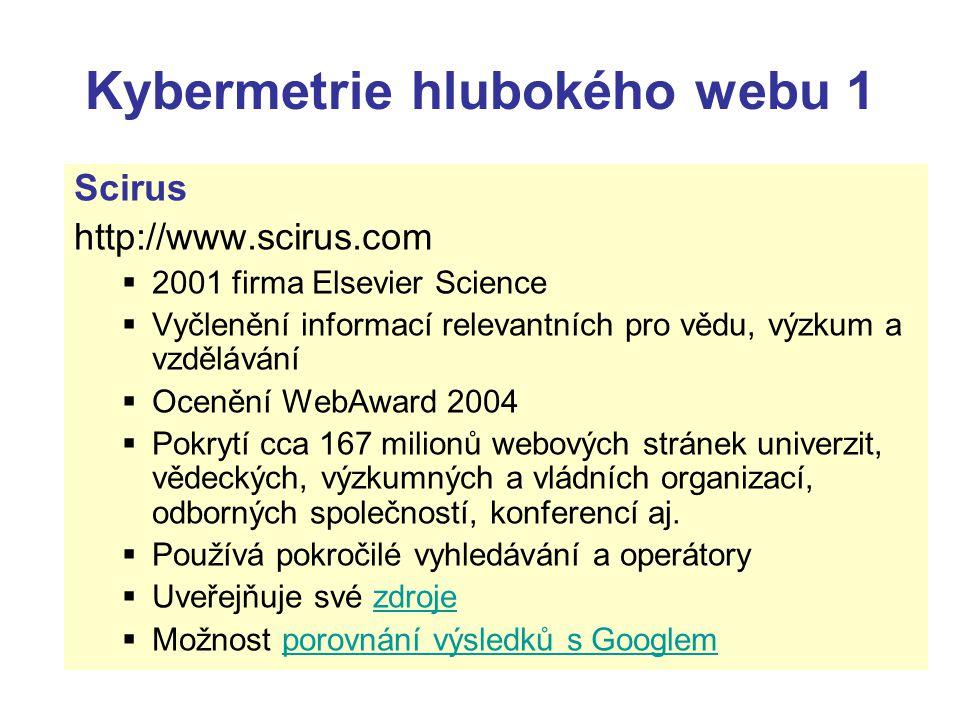 Kybermetrie hlubokého webu 1