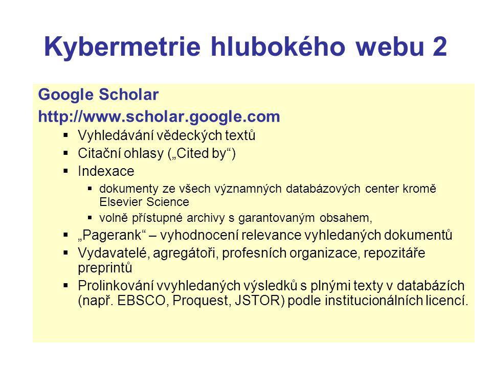 Kybermetrie hlubokého webu 2