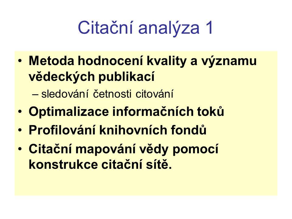 Citační analýza 1 Metoda hodnocení kvality a významu vědeckých publikací. sledování četnosti citování.