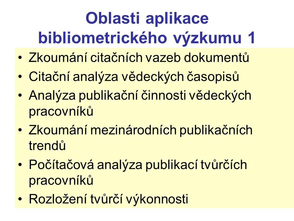 Oblasti aplikace bibliometrického výzkumu 1