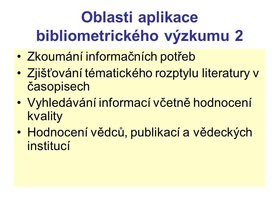 Oblasti aplikace bibliometrického výzkumu 2