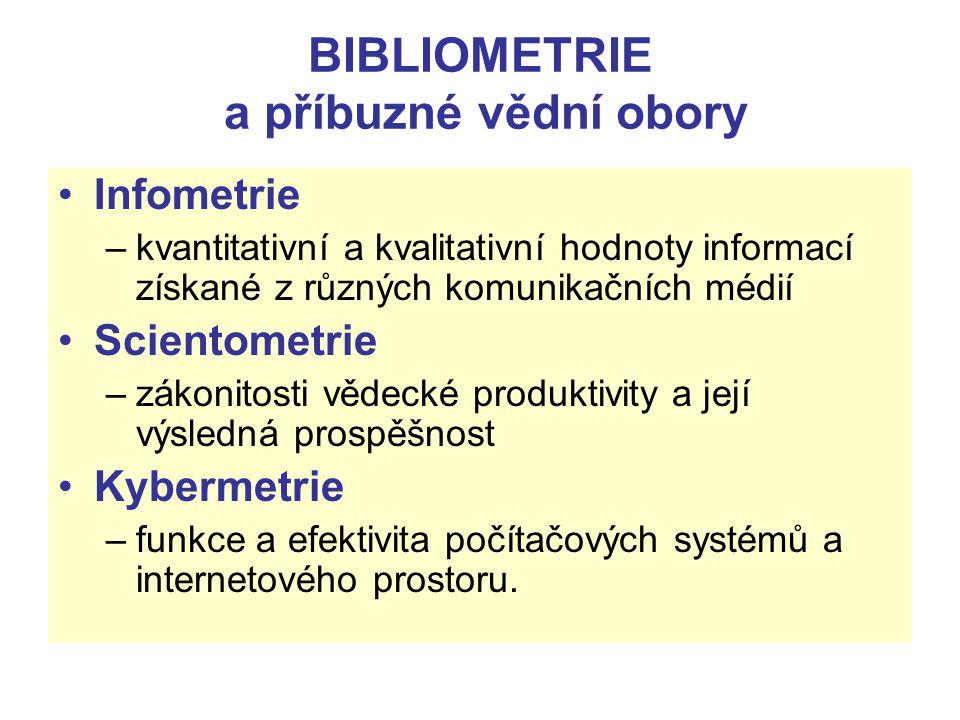 BIBLIOMETRIE a příbuzné vědní obory