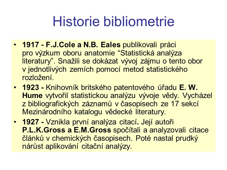 Historie bibliometrie
