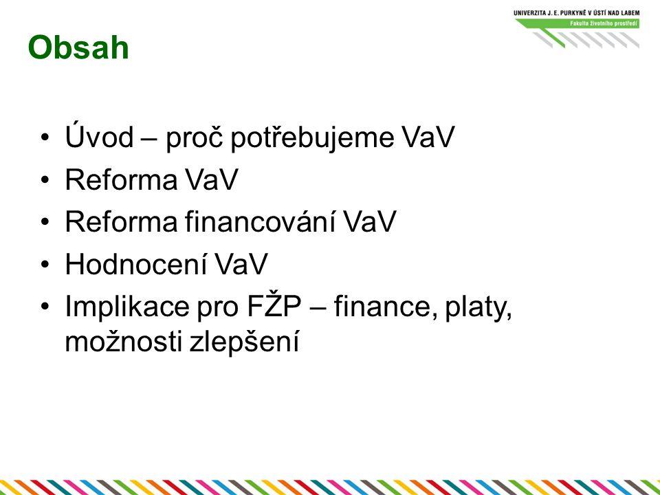Obsah Úvod – proč potřebujeme VaV Reforma VaV Reforma financování VaV
