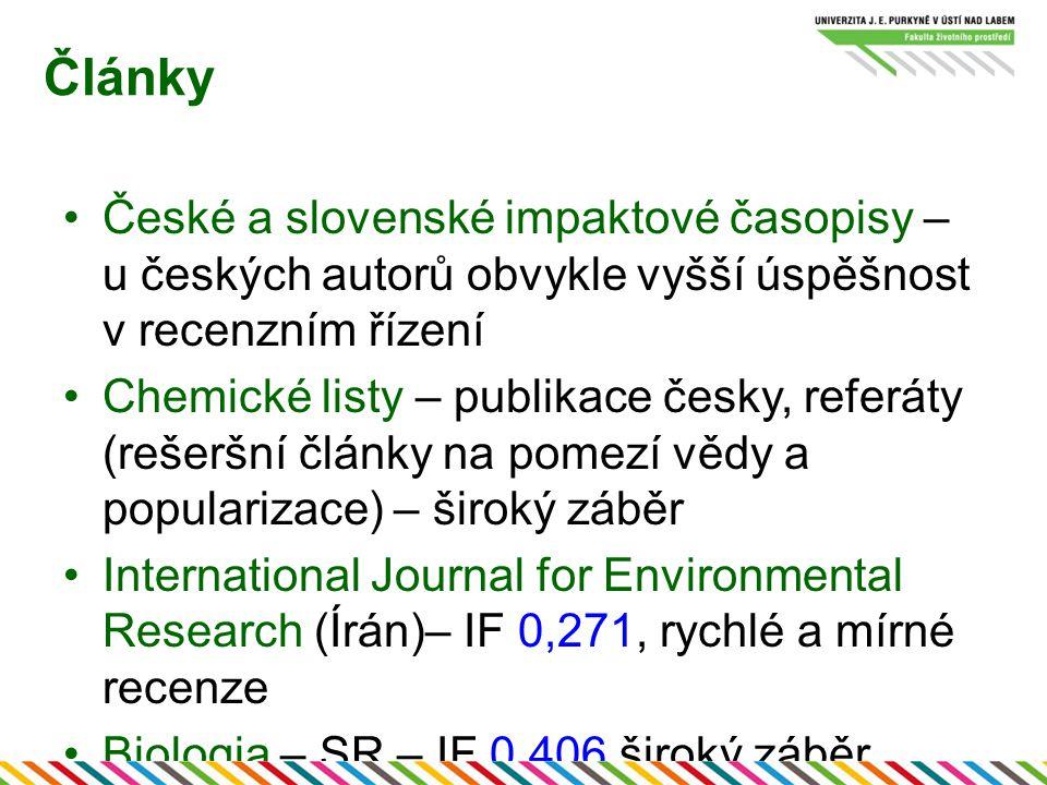 Články České a slovenské impaktové časopisy – u českých autorů obvykle vyšší úspěšnost v recenzním řízení.