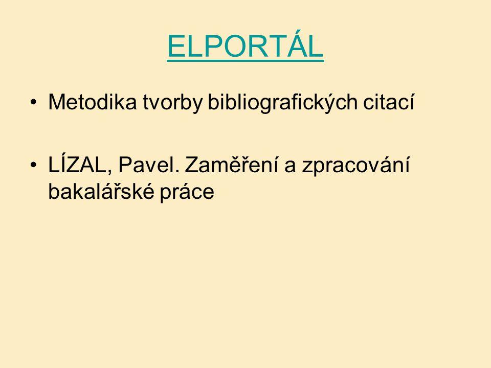ELPORTÁL Metodika tvorby bibliografických citací