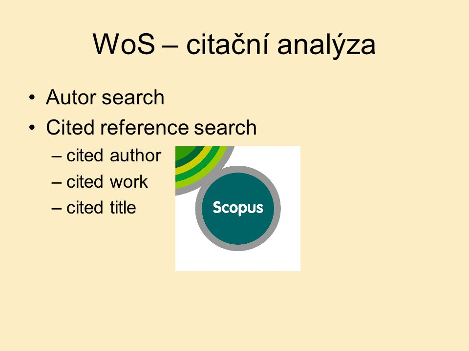 WoS – citační analýza Autor search Cited reference search cited author
